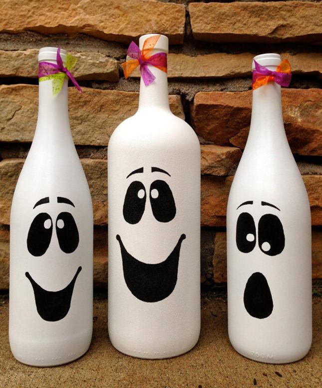 Wine bottle Ghosts For Halloween!