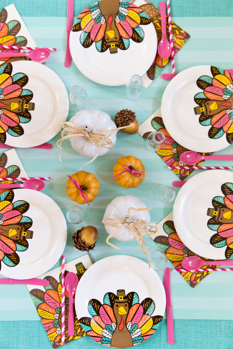 Bright and colorful Kids Thanksgiving Table