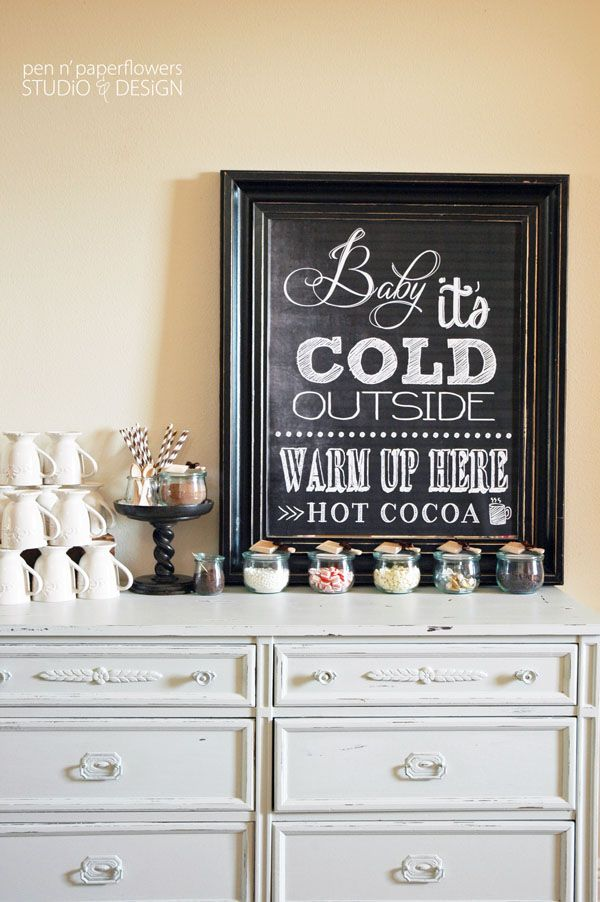 Lovely Hot Cocoa bar sign and set up!