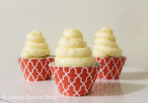 Coral Moroccan Patterns Cupcake Wrappers