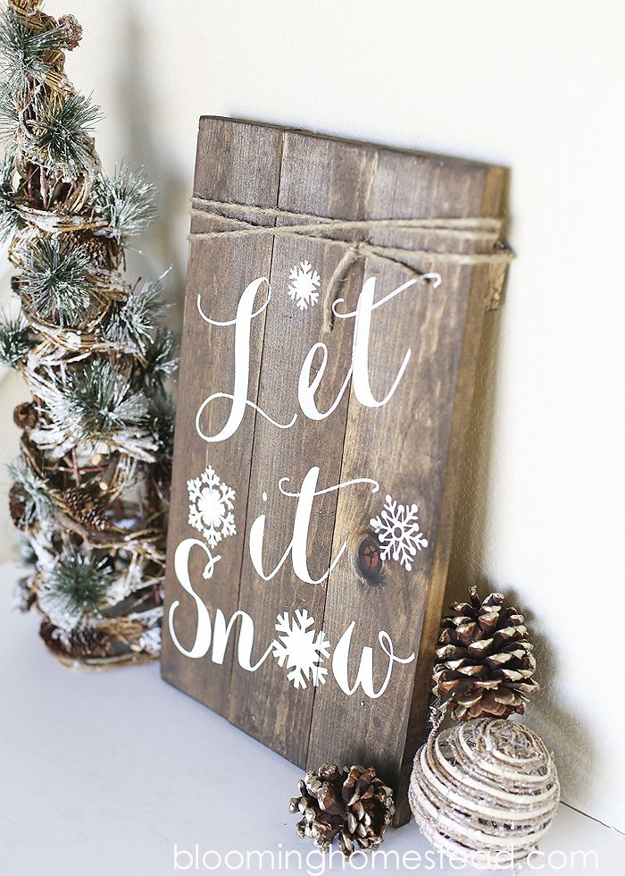 Love this Let is snow rustic Christmas sign