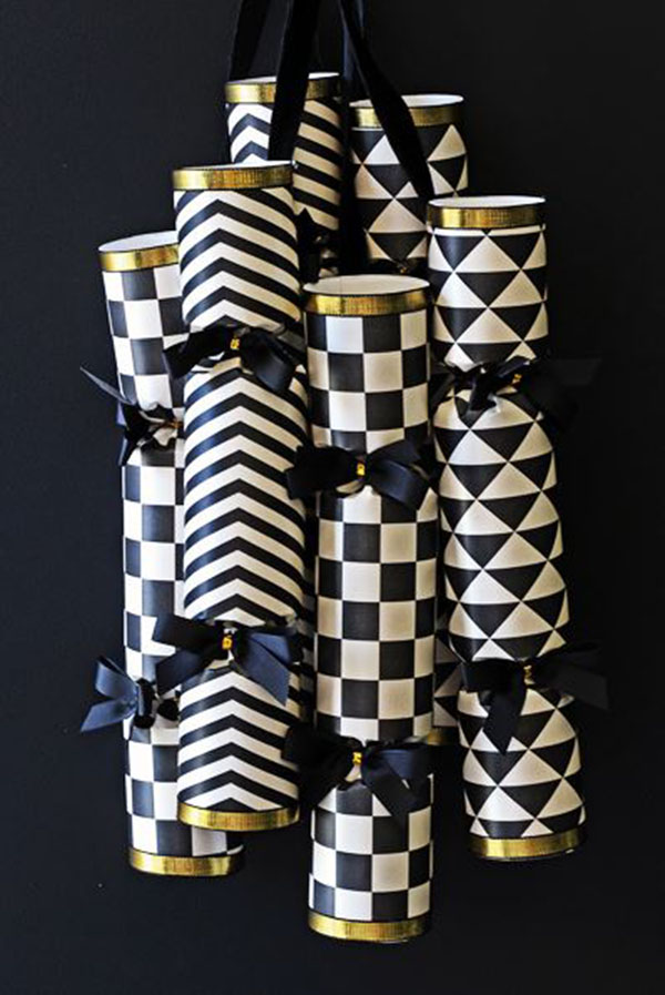 Modern DIY Black And White New year's Crackers Poppers