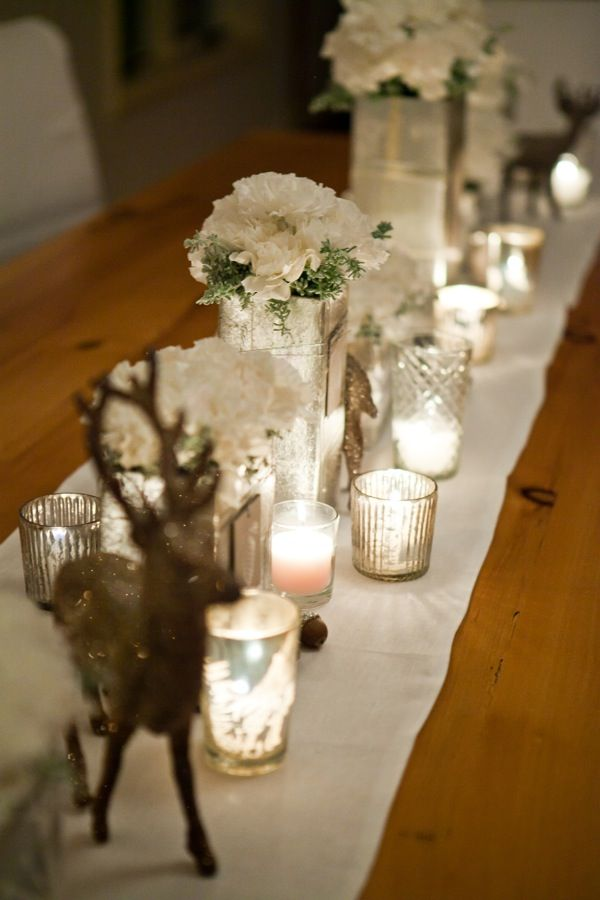 White Christmas Table Centerpiece Ideas