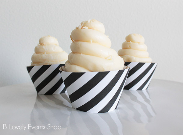 Black Stripe Cupcake Wrappers- B. Lovely Events