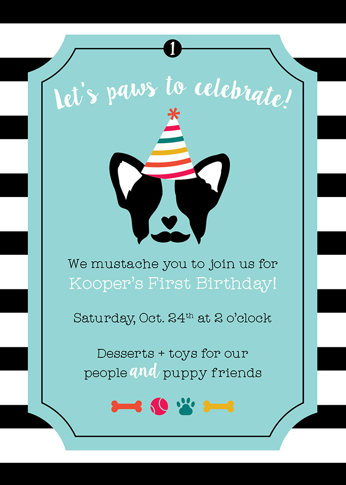 Pupstachio Mustache Doggie Birthday Party Invite - B. Lovely Events