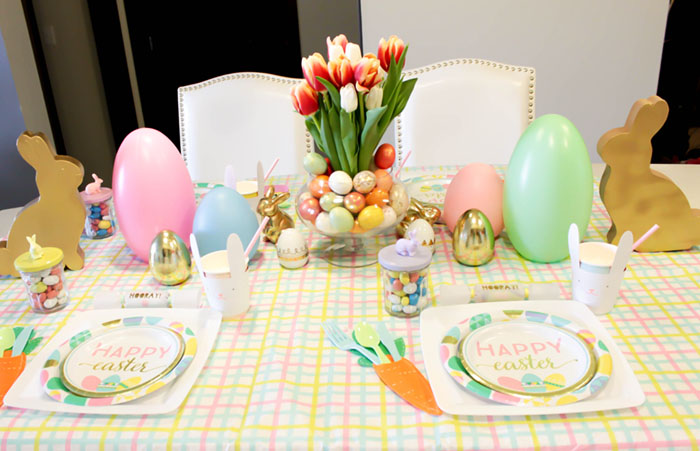 Lovely Kids Table Easter Table WIth Bunnies, Pastels & Gold- See more at B. Lovely Events