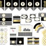 Black, white and gold Pineapple printable set