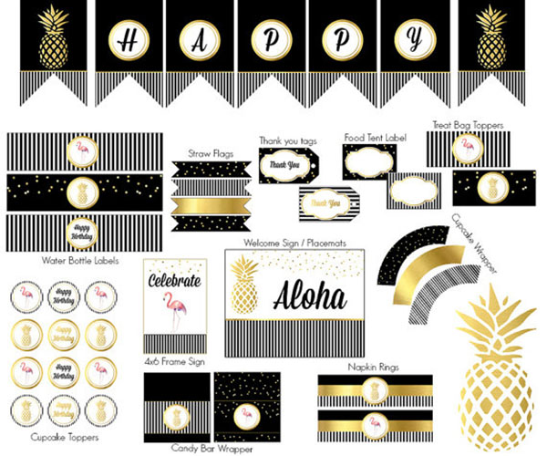 Black, white and gold Pineapple printable set. - See More Lovely Pineapple Party Ideas At B. Lovely Events!