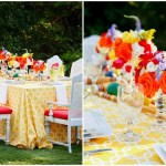 Colorful and bright spring wedding tablescape