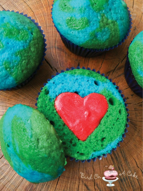 Earth Day Cupcakes with surprise heart inside- so cute! -See More Earth Day Desserts Ideas At B. Lovely Events