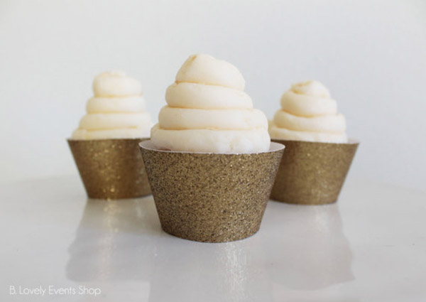 Gold Glitter Cupcake Wrappers - See The new gold cupcake wrappers at B. Lovely Events Shop