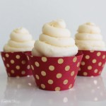 Gold and red polka dot cupcake wrappers - See The new gold cupcake wrappers at B. Lovely Events Shop