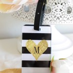 Lovely Black and white striped luggage tag for Mother's Day