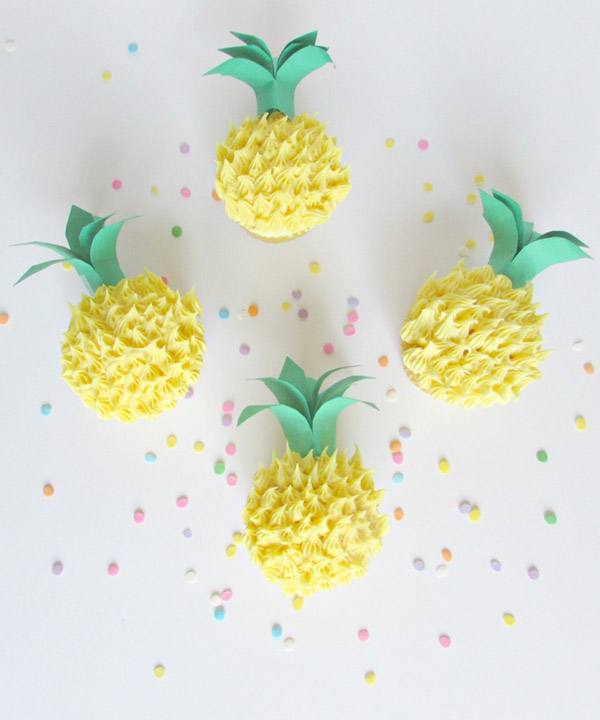 Pineapple Cupcakes That are too cute! - See More Lovely Pineapple Party Ideas At B. Lovely Events!