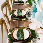Plam leaf party table - See more amazing party trends for 2016 at B. Lovely Events!