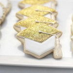 Gold Glitter Grad Hat Cookies - See More Gold Graduation Ideas on B. Lovely Events
