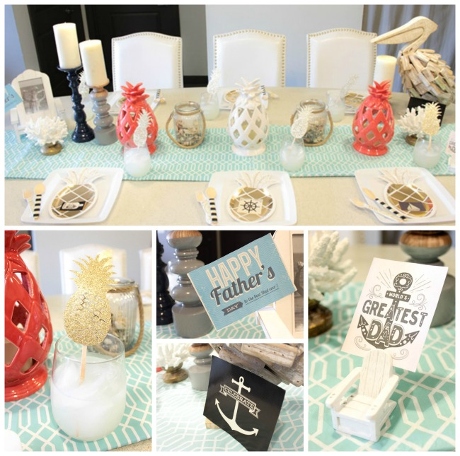 Lovely Nautical Pineapple Father's Day Tablescape!- See how adorable this table is on B. Lovely Events