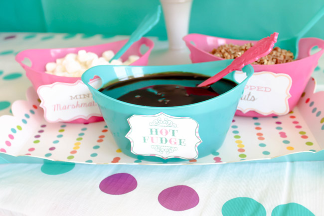 Polka Dotted Icea Cream Party Toppings- See more ice cream party ideas on B. Lovely Events