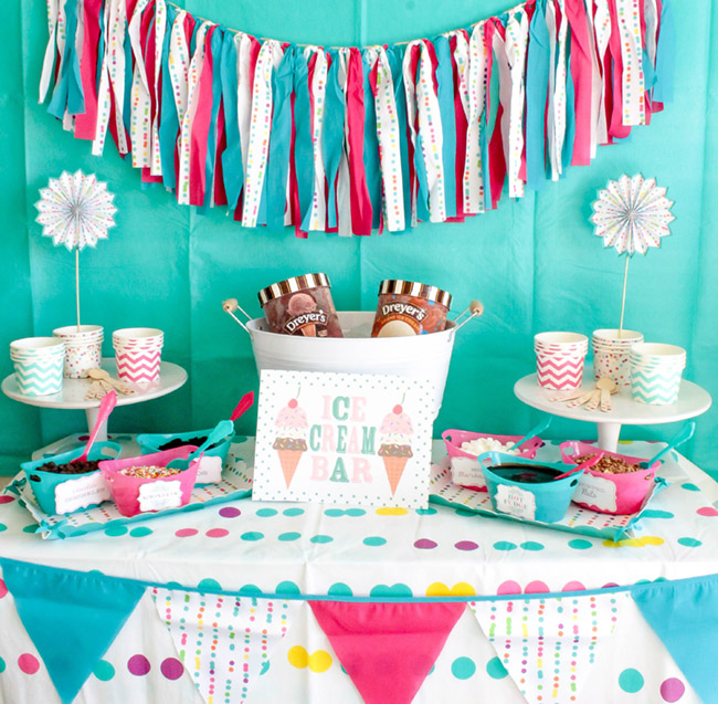 Summer Fun Ice Cream Party Full Of Colors & Polka Dots -Ice Cream Party Sign For A Fun Summer Ice Cream Party!- See more ice cream party ideas on B. Lovely Events