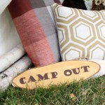 Easy DIY Wood Camp Out Sign - See More Lovely Kid's Camp Out Ideas on B. Lovely Events