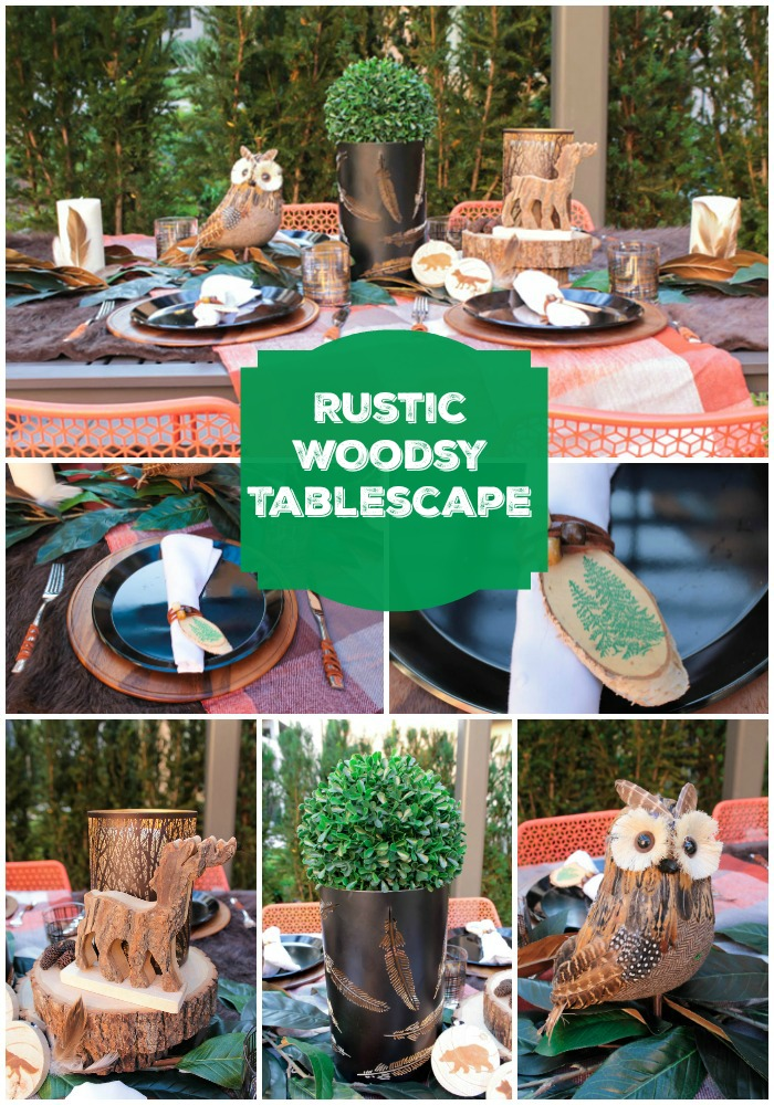 Rustic And Woodsy Alfresco Tablescape- See all of the lovely details on B. Lovely Events!