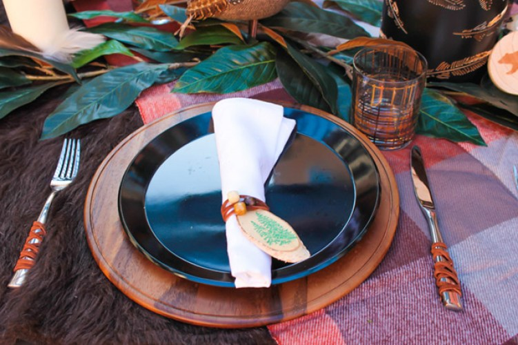 Rustic Natural Place Setting For An Alfresco Tablescape- See More Woodsy Tablescape Details On B. Lovely Events