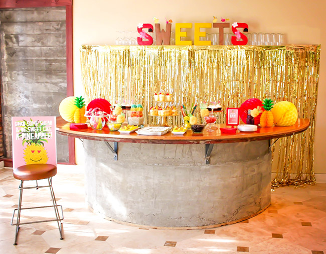 Sweets Bar At Flamingo Party