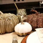 Sparkle pumpkins- Great decor for A beautiful Thanksgiving Tablescape- B. Lovely Events