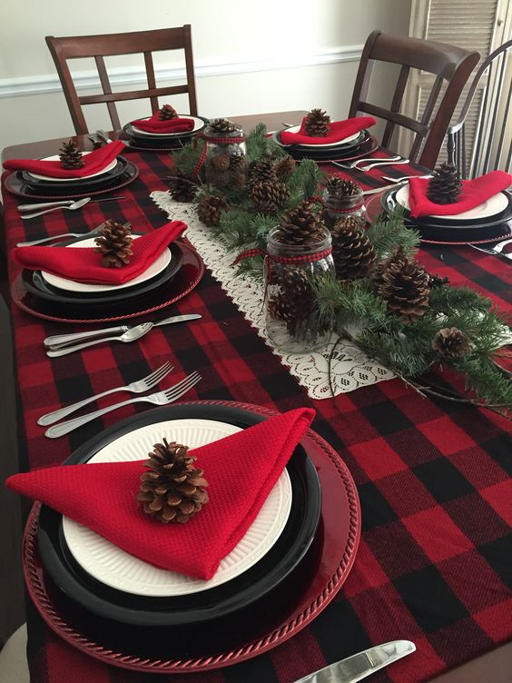 Buffalo Plaid Christmas Table- See More Buffalo Check Ideas on B. Lovely Events