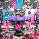 Monster High Party Cake and Decorations- See more cute party details on B. Lovely Events