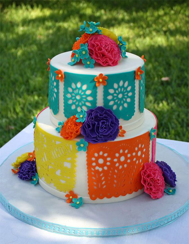 Fiesta cakes with papel picados-See more fiesta cakes on B. Lovely Events