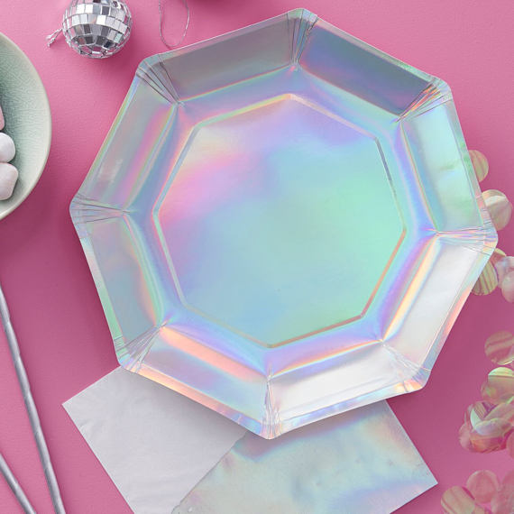 Iridescent Party plates so cute - See more iridescent hologram party ideas on B. Lovely Events