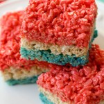 Red white and Blue 4th of July Rice Krisipie- See all 8 AWESOME 4th of July Rice Krispy ideas on B. Lovely Events!