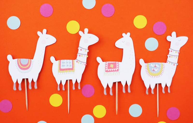 Fun llama party cupcake toppers - See more llama party love on B. Lovely Events