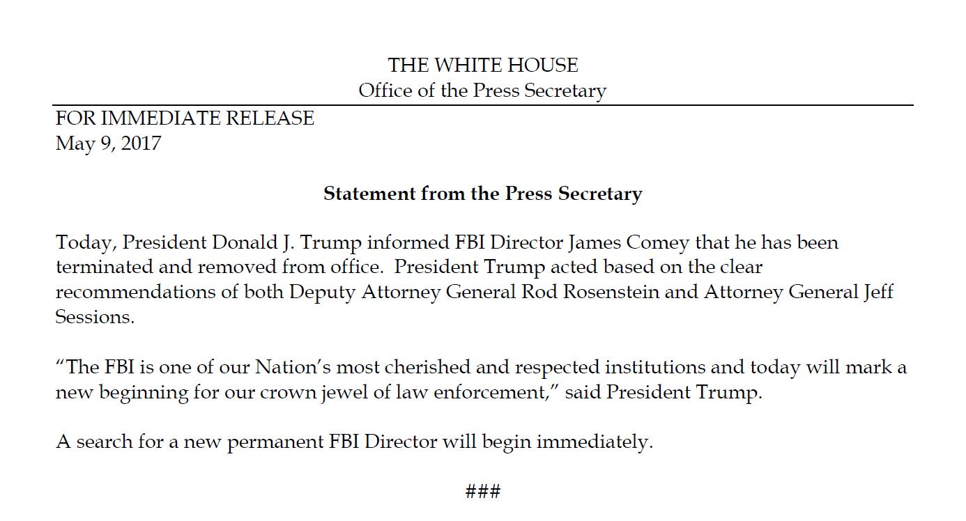 Breaking — Story 1: President Donald J. Trump Fires FBI Directory James  Comey On Recommendation of Attorney General Jeff Sessions — Videos —