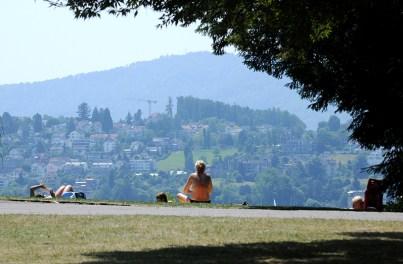 enjoying the sun at Zurich Lake