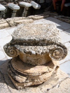 """The scroll-style capital is called """"Ionic,"""" for their Greek origins. These are rarer to find, because they are older than the more ornate """"Corinthian"""" capitals favored in Roman architecture."""