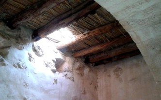 This hole in the roof of the olive press was a happy accident, that let us remember together the story from Luke 5:17-26, about the friends who lowered the paralytic through a hole in the roof -- very much like this one -- to get to Jesus.