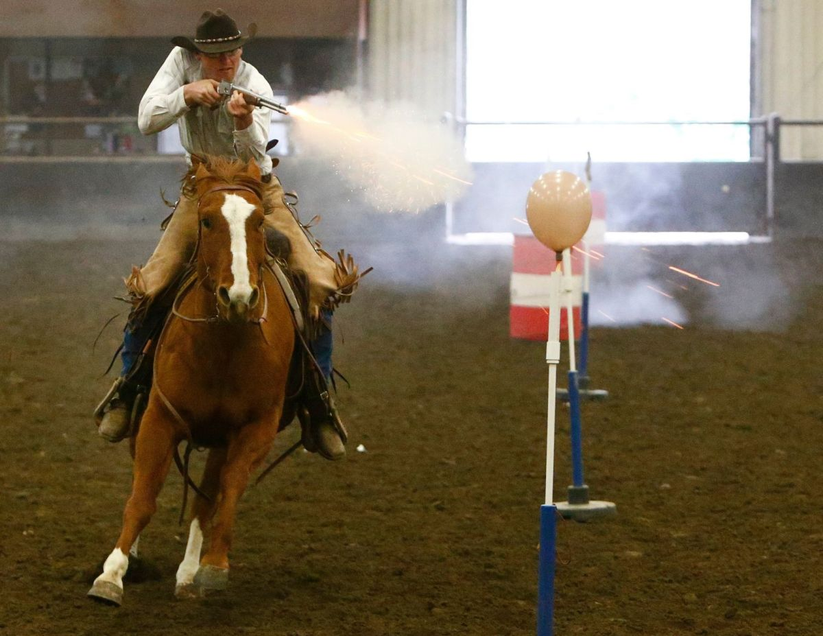 Horseback Riders Get Hooked On Cowboy Mounted Shooting At
