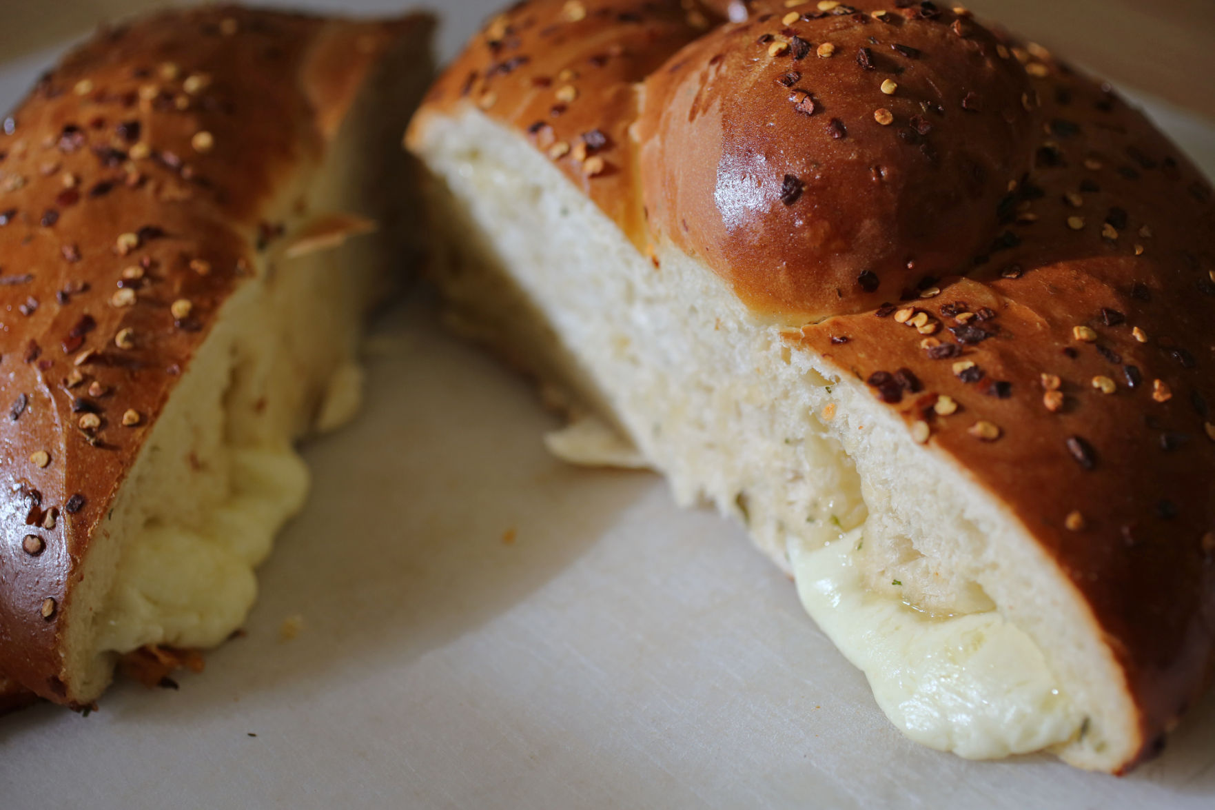 Hot and spicy cheese bread from Stella's Bakery