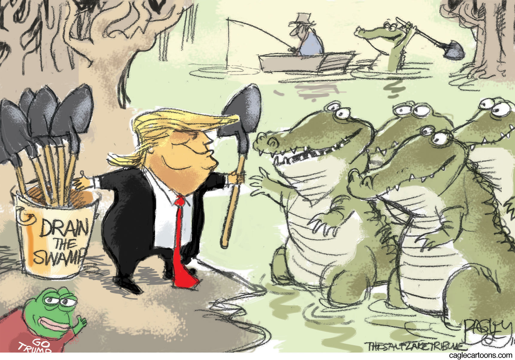 Image result for cartoon of trump and swamp