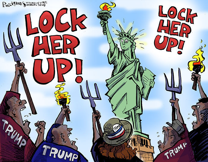 Image result for hillary clinton lock her up cartoon