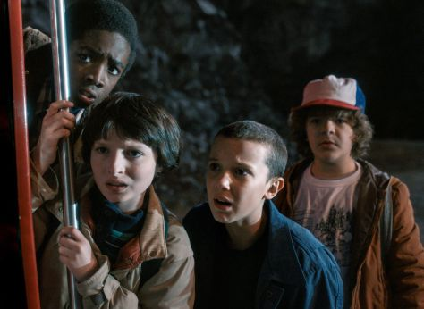 Caleb McLaughlin, Finn Wolfhard, Millie Bobby Brown & Gaten Matarazzo in Netflix' Stranger Things