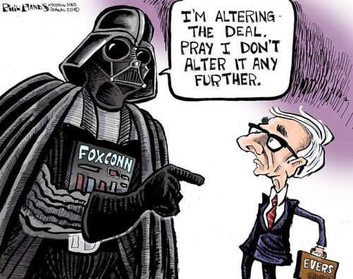 Image result for tony evers foxconn cartoon