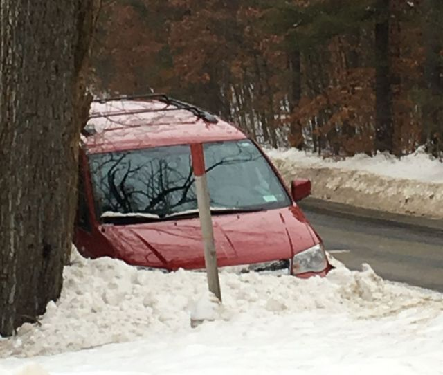 A Post Star Reader Sent In This Photo Of A Mini Van Stuck In A Snowbank Sunday Morning On Peggy Ann Road In Queensbury