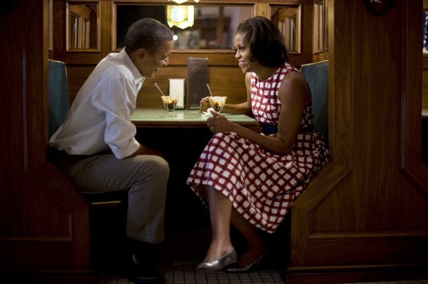 Scout Tufankjian's award-nominated photograph of Barack and Michelle Obama in East Davenport, Iowa, in 2012.