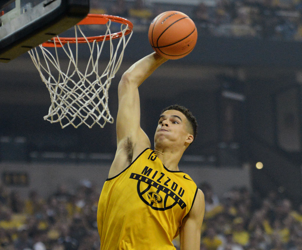 Missouri freshman Michael Porter Jr. jumps for a dunk during the Oct. 21 Mizzou Madness scrimmage at Mizzou Arena.