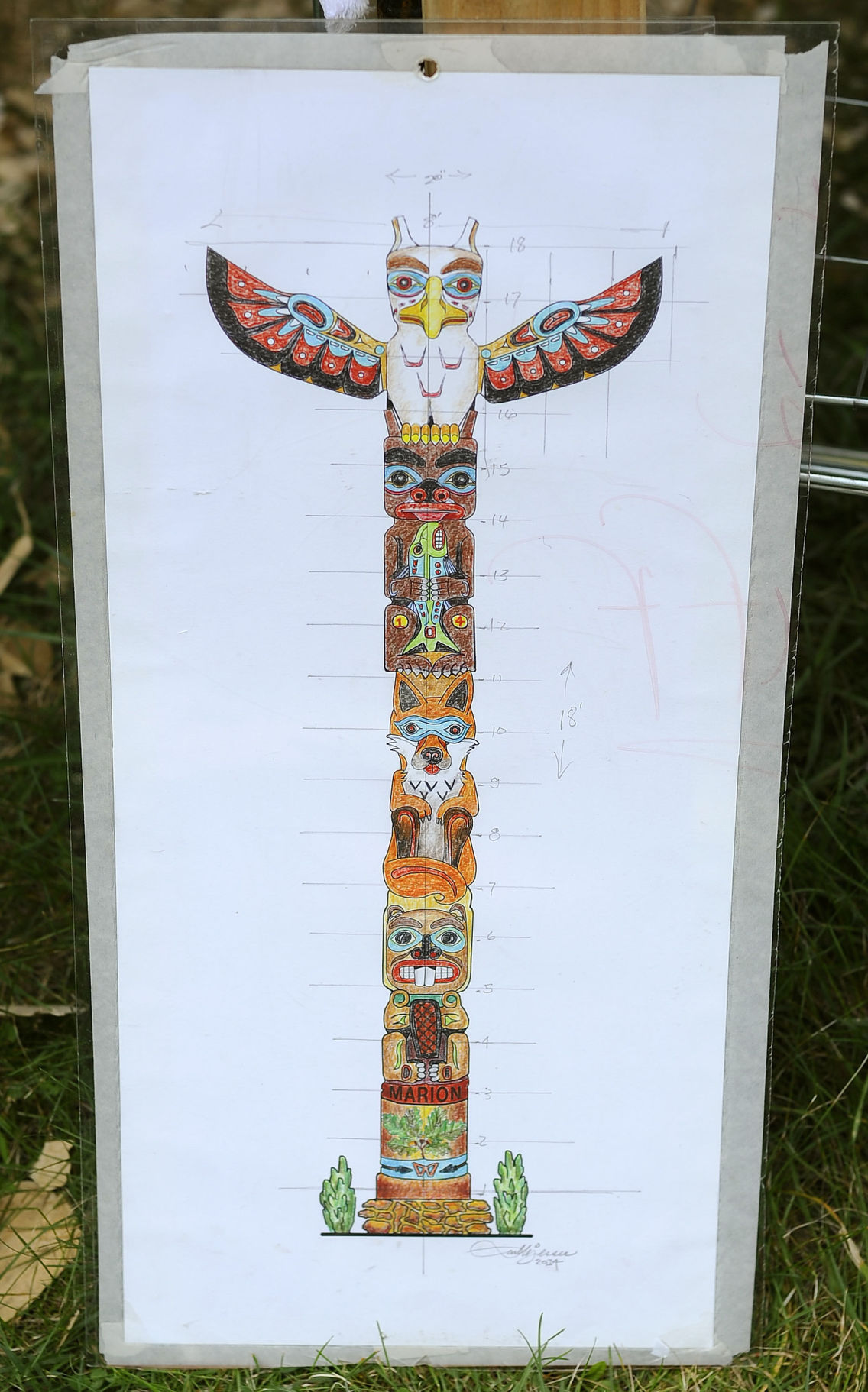 An 18 Foot Totem Pole Designed By Carl B Jessee Is Being