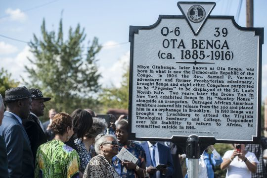 "Lynchburg ""sanctuary city"" for Ota Benga, historic highway marker unveiled Saturday 