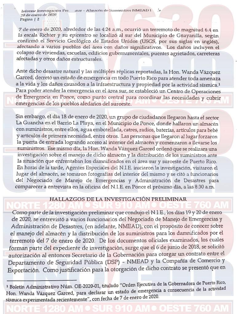 Informe suministros - Justicia - NIE - almacen - Ponce - marzo 13 2020 2